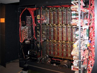 Some more detail of the inside of the bombe. The bundle of wires to the left of the image are connected to a bank of control switches and the start/stop lever.