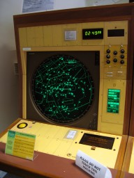 One of the two displays connected to the computer used for air traffic control.