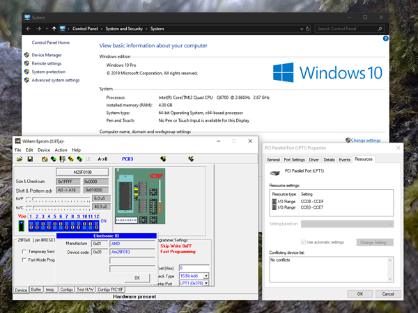 Screenshot showing the Willem software running correctly on a 64-bit version of Windows 10