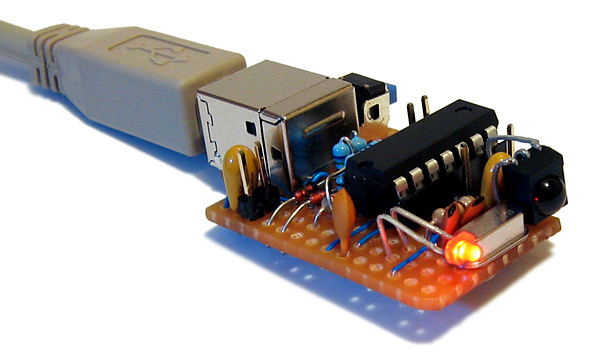 USB remote control receiver assembled on stripboard
