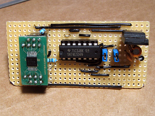 Top view of the populated video amplifier circuit board