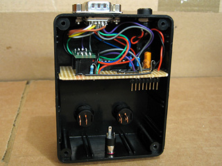 Video amplifier circuit board hooked up and installed in the case
