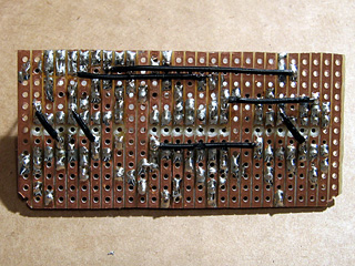 Bottom view of the wire links on the logic circuit board