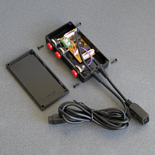 The circuit assembled in its enclosure with the lid off
