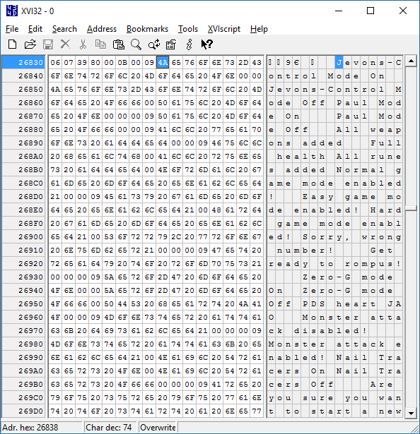 Screenshot of hex editor showing cheat message strings